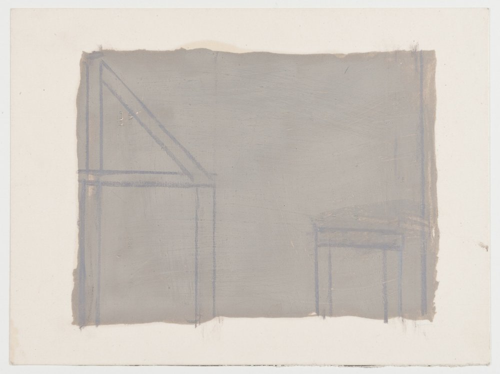 James Bishop, Untitled, 2015-16, Oil & colored pencil on paper, 5 1/4 x 7 1/8 in. (13.3 x 18.1 cm), JBI1501  4/6  Lawrence Markey Inc.