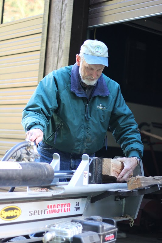 Duane demonstrates his newest machine, a log splitter, which helps him split wood much faster. No more sore muscles!