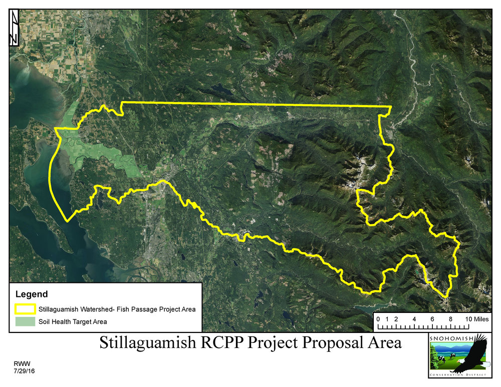 The Stillaguamish River Watershed target areas for the RCPP Program. Projects in the yellow-outlined areas will focus on fish passage while the green areas are for nutrient management and soil health improvements.