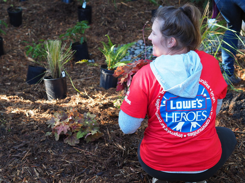 Lowe's Heroes Volunteer planting a plant into the newly constructed rain garden.