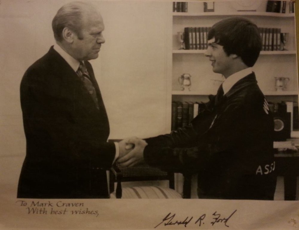 Mark Craven meeting President Gerald R. Ford during the FFA Leadership Conference in Washington DC. At the time, Mark was the Washington State President of FFA (Future Farmers of America). July 1976
