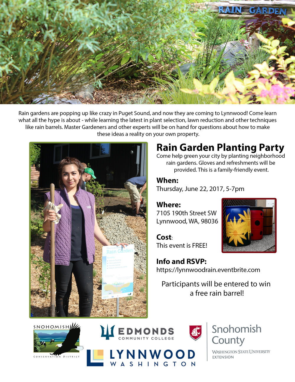 Rain Garden Party Flyer for June 22, 2017