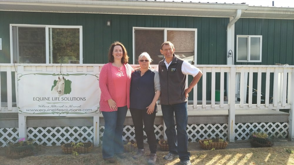 Representative Shelley Kloba, Robin Smith, owner of ELS, and Monte Marti, District Manager of Snohomish Conservation District