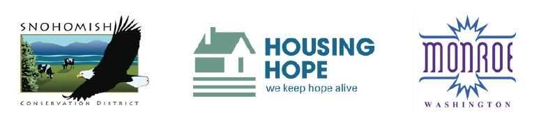 Snohomish Conservation District, Housing Hope, and City of Monroe logos