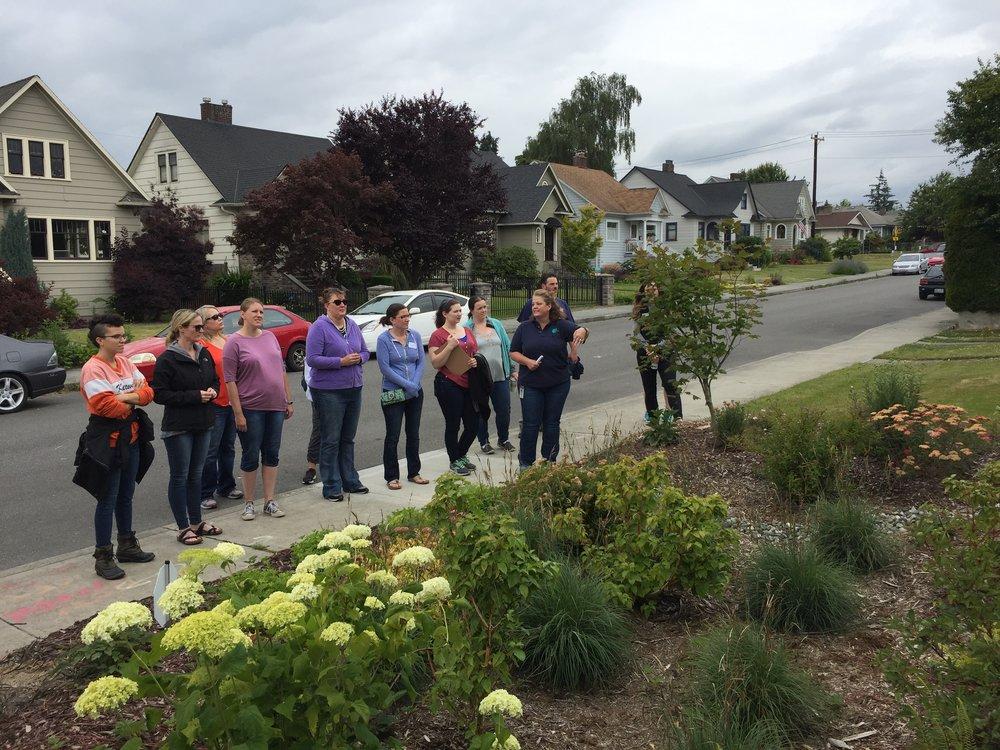 Apryl from the City of Everett explaining the North Everett rain garden cluster