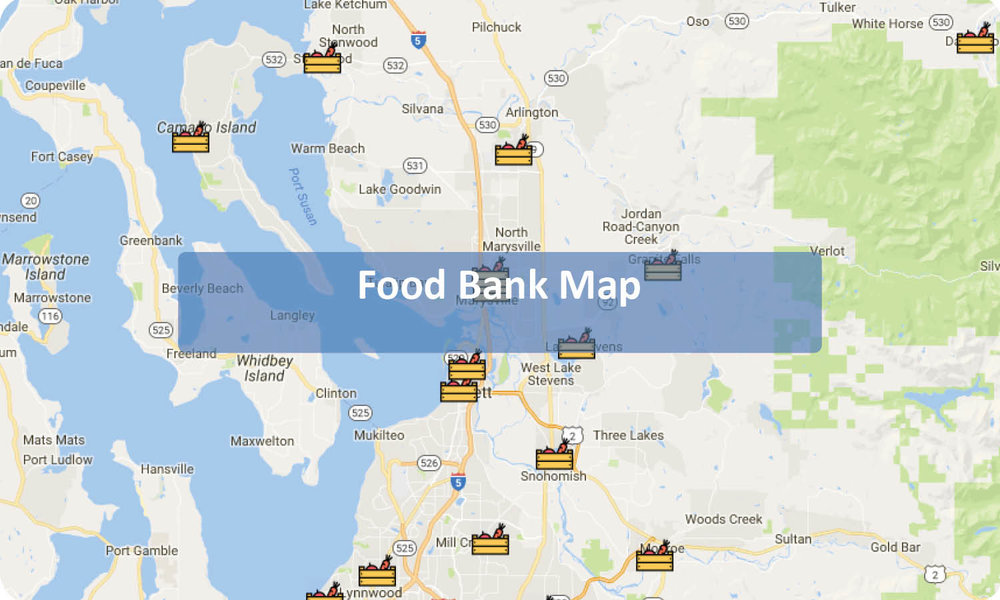 Food Banks Map for Snohomish County and Camano Island