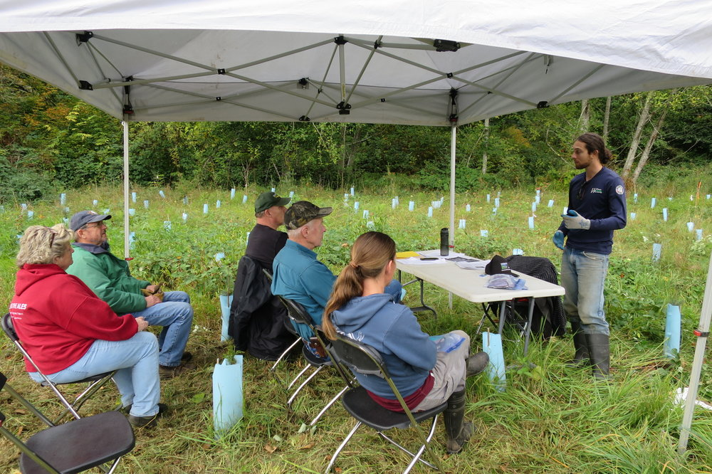Carson Moscoso teaching at a WSU noxious weed event on the property.
