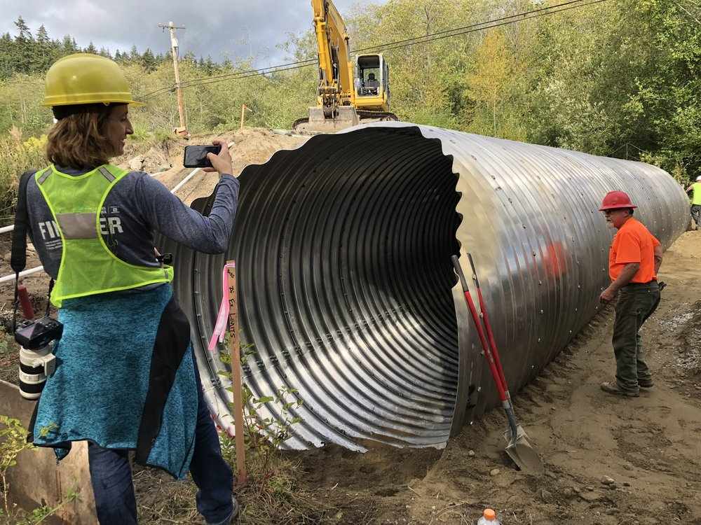 Dawn Pucci from Island County documented the second culvert placement.