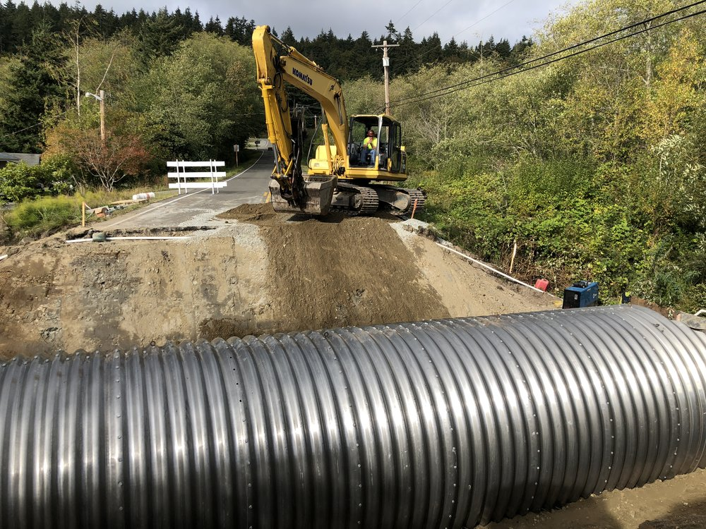 The 64 foot culvert spans the width of Russell Road. The construction crew will backfill and level the sides before paving towards the end of next week.
