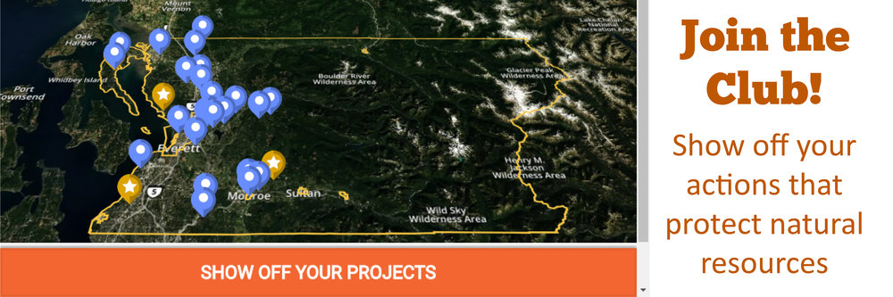 Conservation Action Map. Text: Join the Club! Show off your actions to protect natural resources. Link to Mapping tool.