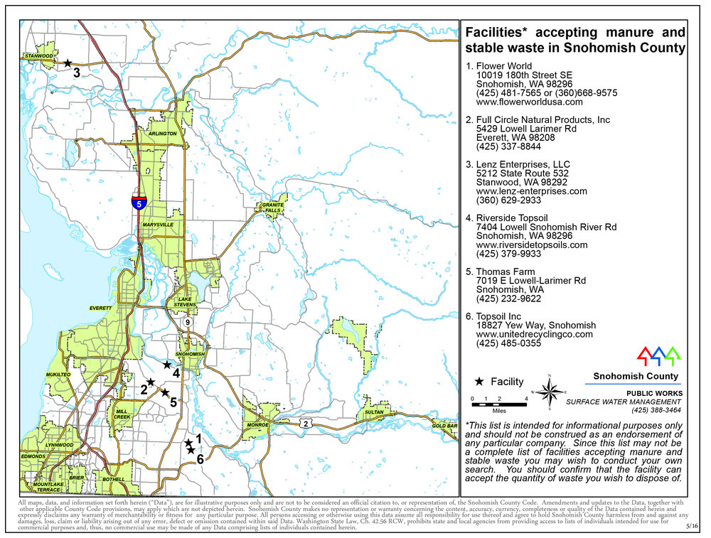 Facilities that accept manure and stable waste in Snohomish County.