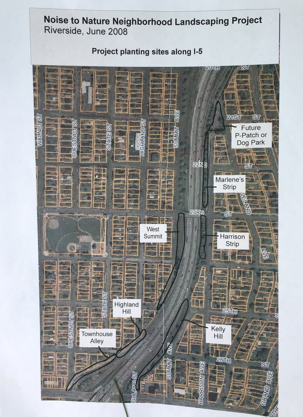 Plan of Site to be Planted along I-5.