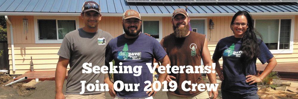 Seeking Veterans!  Join Our 2019 Crew