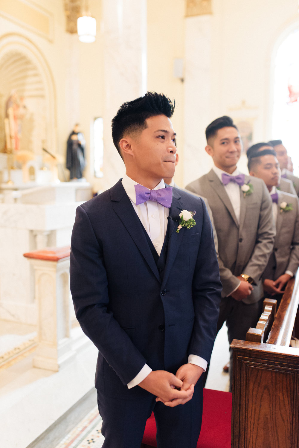 I love how Arvin's groomsmen is watching his face! The sweetest moment while Cassie walked down the aisle.