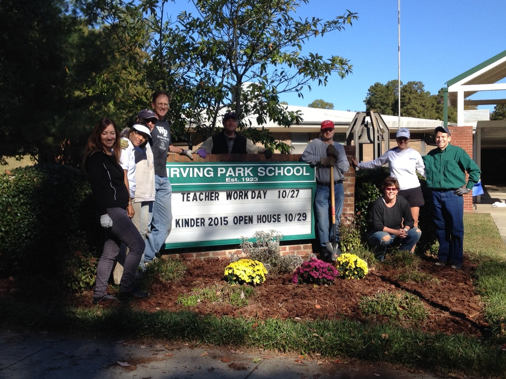 Volunteering with Greensboro Bar Association at Irving Park School cleanup, October 2014.