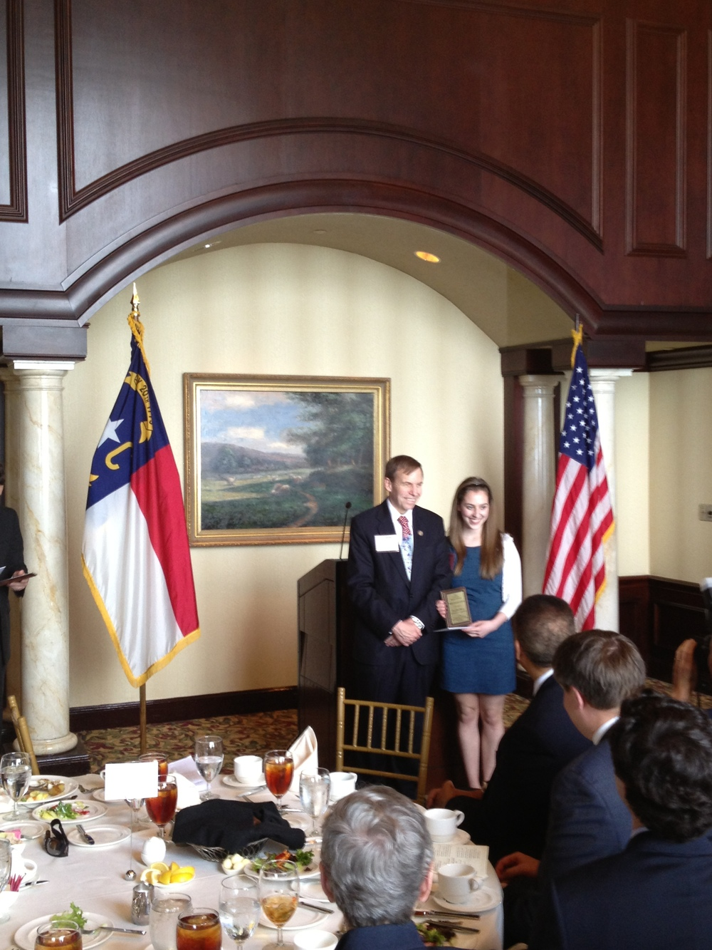 Justice Edmunds presenting Law Day awards to students, May 2013