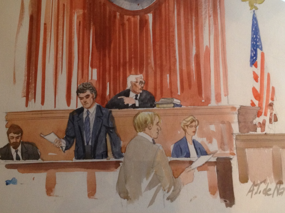 Justice Edmunds depicted during trial of a federal criminal case.