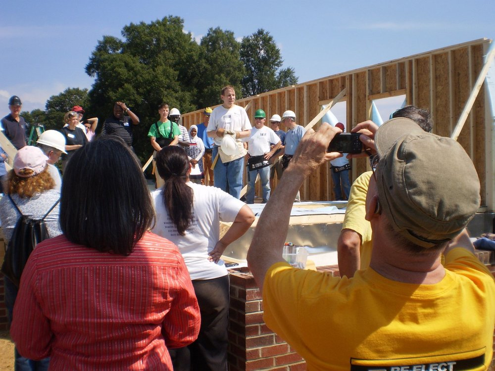 Justice Edmunds participating in Greensboro Bar Association Habitat For Humanity homebuilding project.
