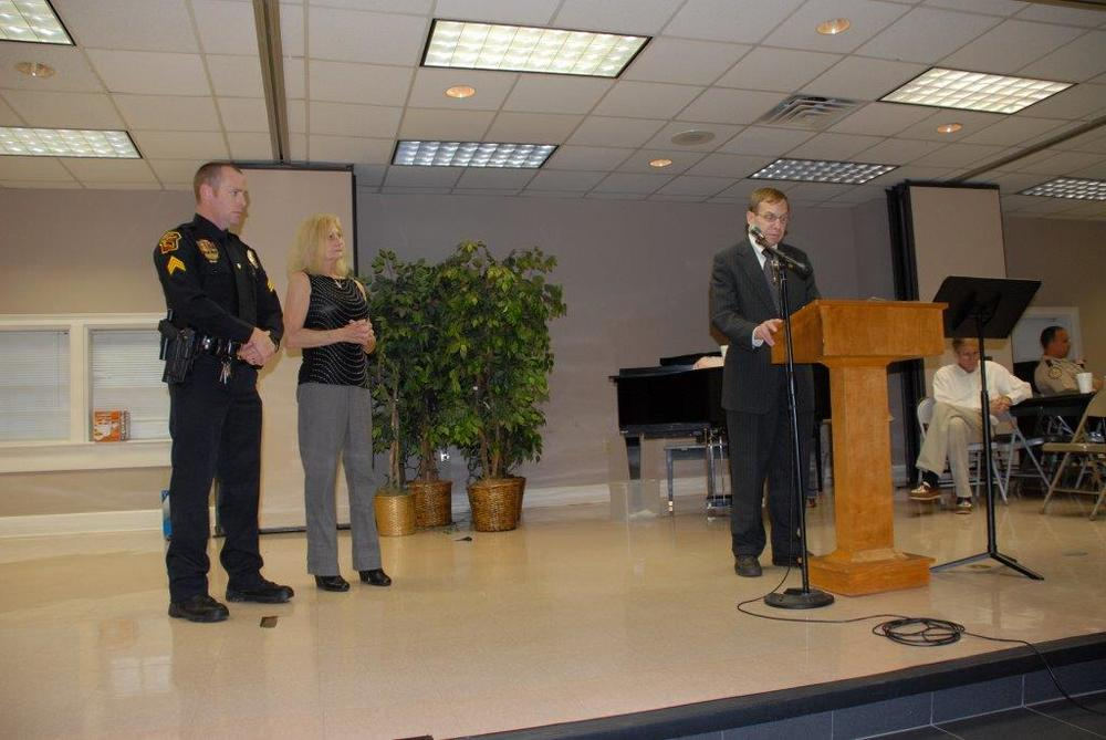Justice Edmunds presents memorial at Johnston County Police Memorial Dinner, April 2015.