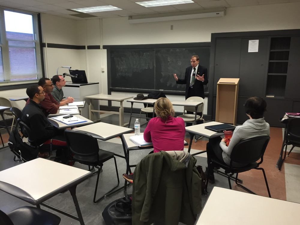 Justice Edmunds guest teaching s graduate class in political science, UNC-G, 3 October 2015.