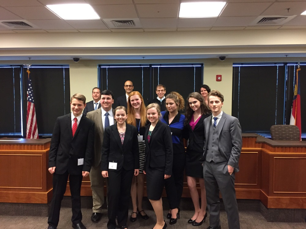 With finalist teams and jurors, N.C. High School Mock Trial finalists, Campbell School of Law, March 12, 2016.