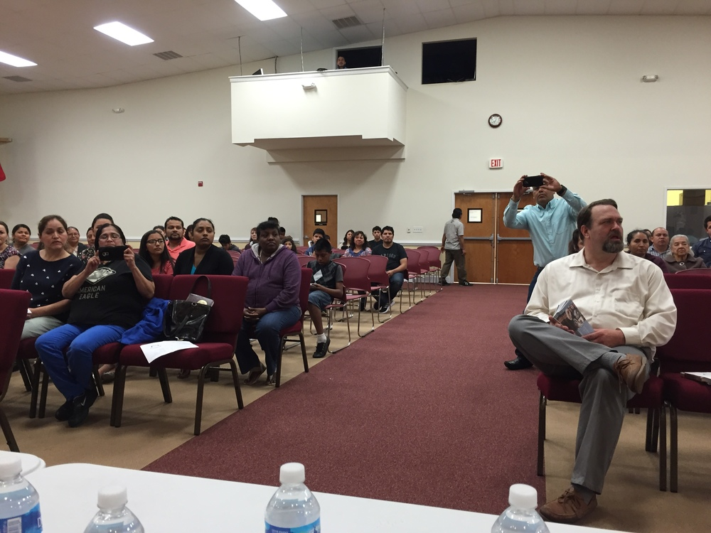 Speaking to voters at town hall meeting, Primera Asemblea de Dios de Raleigh, April 22, 2016.