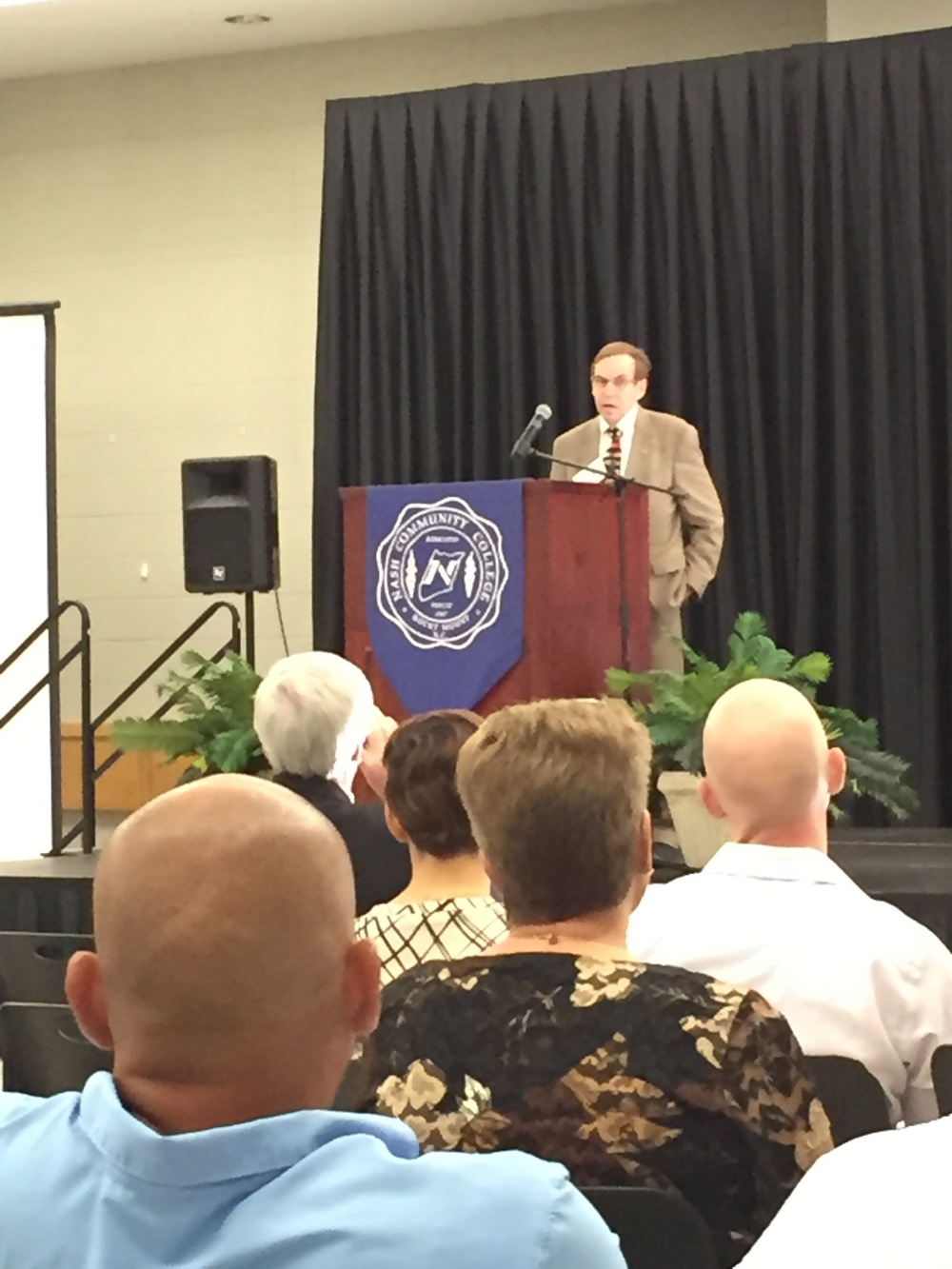Speaking at a conference on human trafficking, Nash Community College, Rocky Mount, NC, July 20, 2016.