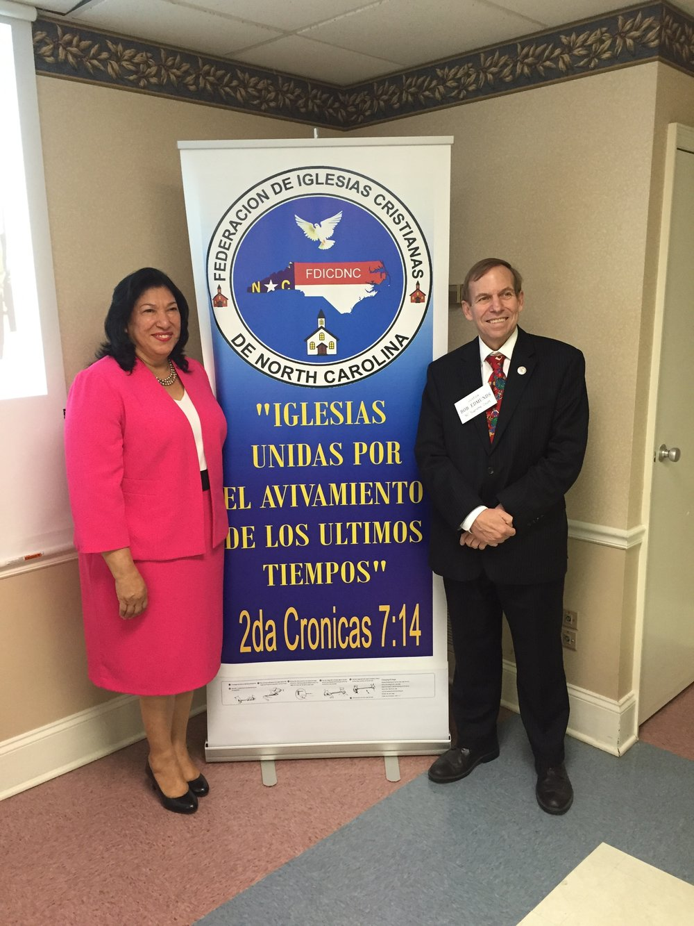 With Pastor Maudia Melendez at Federacion De Iglesias Cristianas in Charlotte, September 1, 2016.