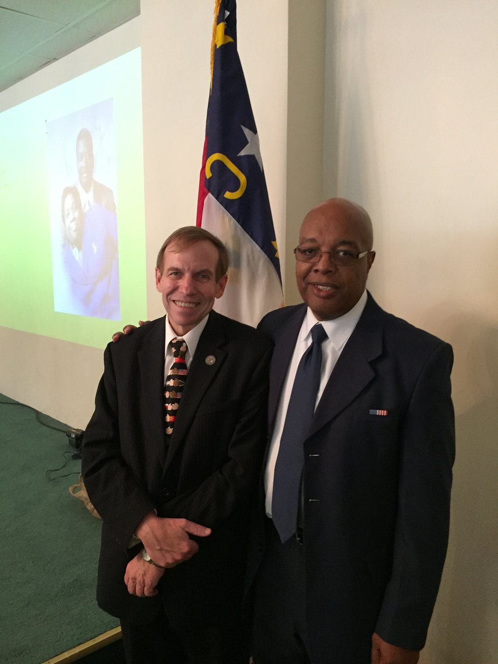 With Mr. Clarence Henderson at his 75th birthday. Mr. Henderson participated in the Woolworth's sit-in as a student in 1960.