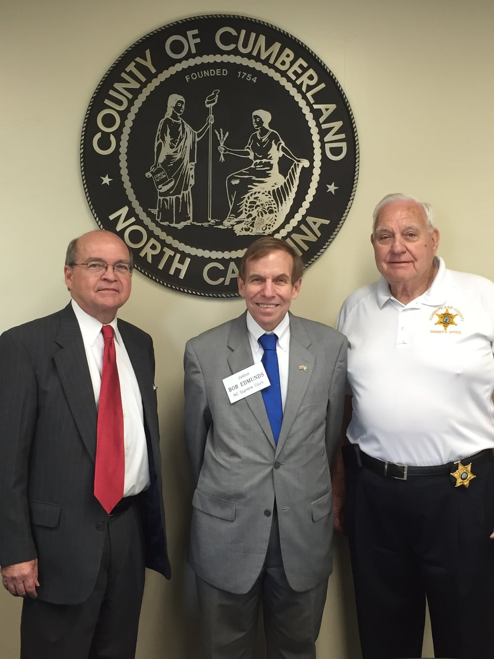 With Sheriff Moose Butler and Cumberland County Legal Counsel Ronnie Mitchell, Fayetteville, October 3, 2016.