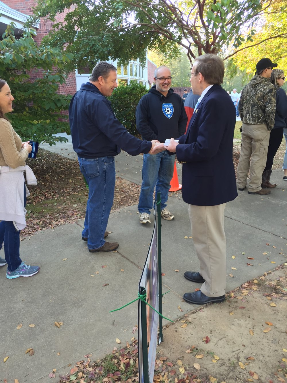 Meeting early voters in Holly Springs, October 28, 2016.