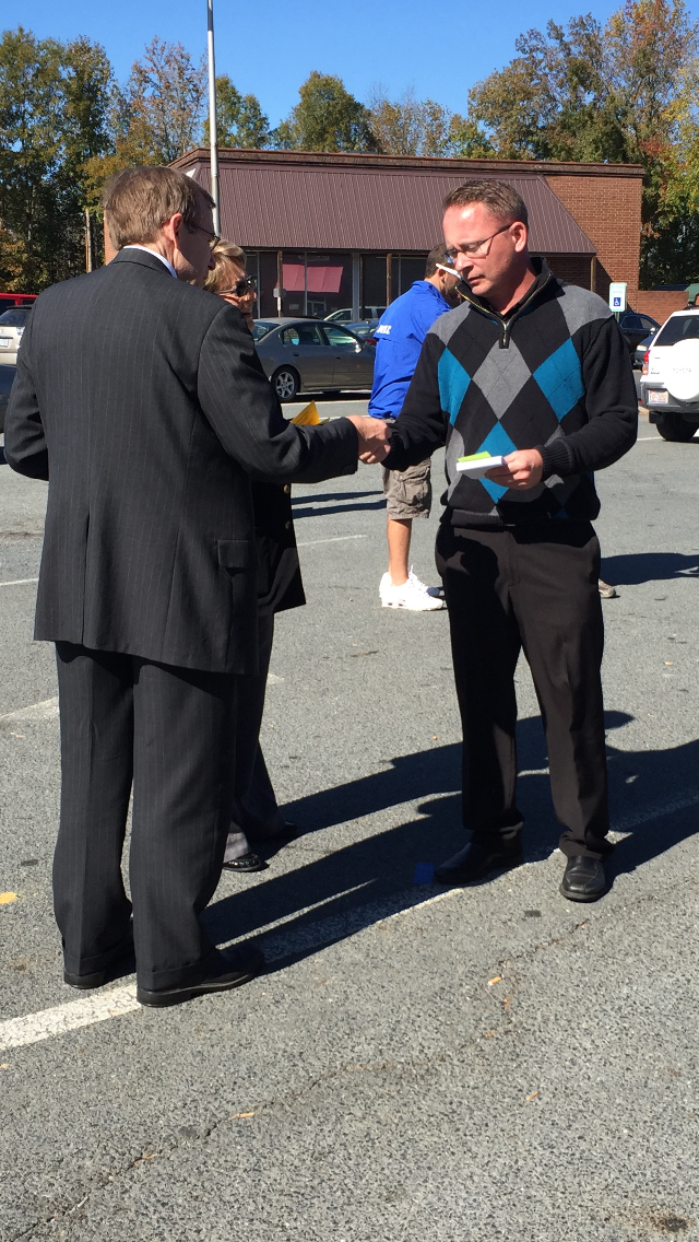 Meeting early voter in Albemarle, November 4, 2016.