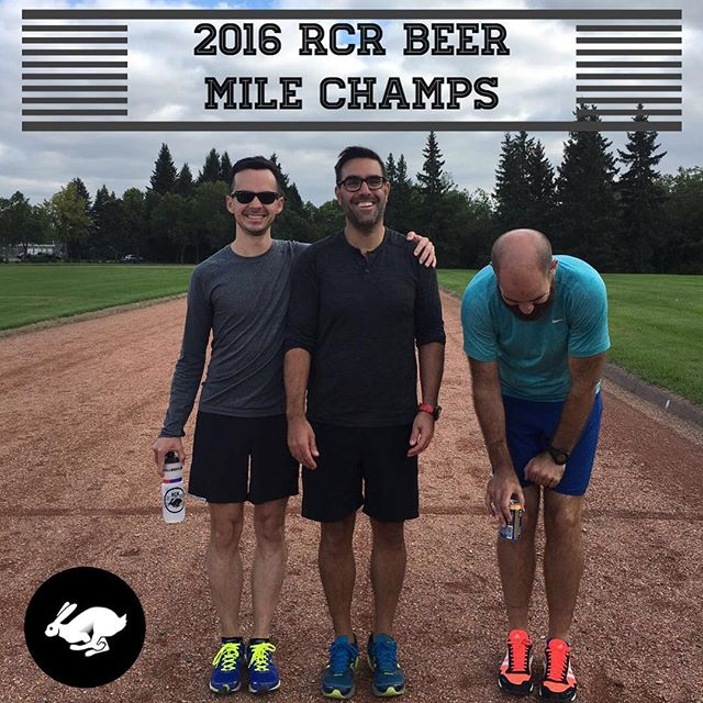 THE RCR BEER MILE IS BACK! Come give these gents a run for their money next Saturday. A few things to know: 1. BYOB (needs to be 5% or higher) 2. Running at McNally track 3. 4pm we crack the first beer. 4. We go by official beer mile rules (link in bio) 5. It is close to Halloween - costumes welcome. Bonus award for the person who dresses/looks the most like @jeniferelliott (It's her bday). 6. This year you aren't only fighting for bragging rights - you are fighting for the 👑 (king and queen) Note: don't forget to bring your drunk sunnies (worked for LRC last year)!