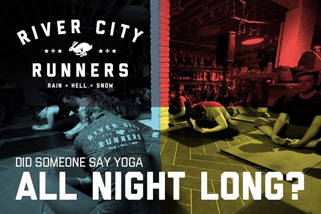 Midnight yoga with @andrew_misle is going to be one of the many highlights our the 24 Hour Treadmill Challenge. Sign up for this karma class and all the other ones with the link in our bio #RCR24H