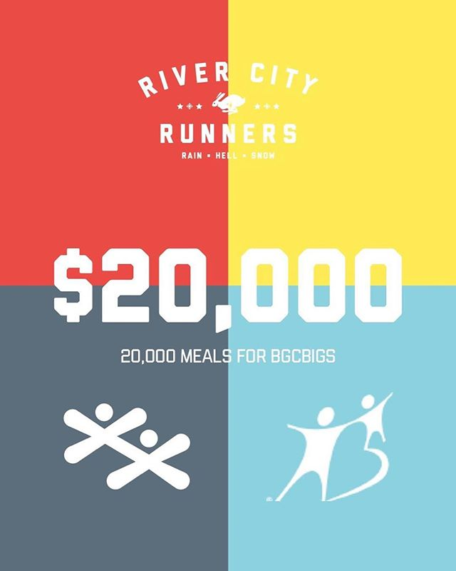 Our 2018 24 Hour Treadmill Challenge donations have reaching $20,000! This is incredible. Thank you to everyone who has made this possible. 20,000 meals for @bgcbigs. #RCR24H