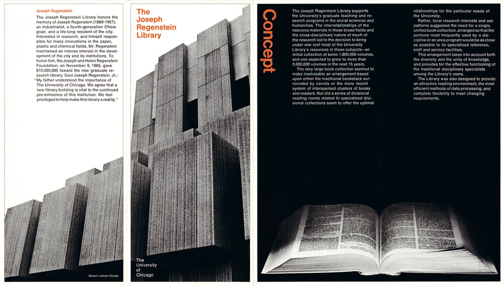 Brochure about the Joseph Regenstein Library, 1971