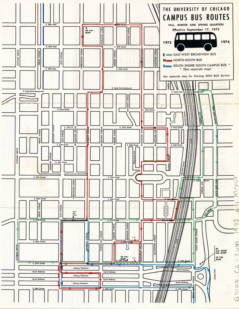 Campus Bus Routes, 1973-74