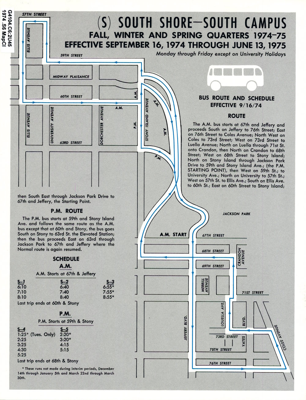 South Shore Shuttle, 1974-75