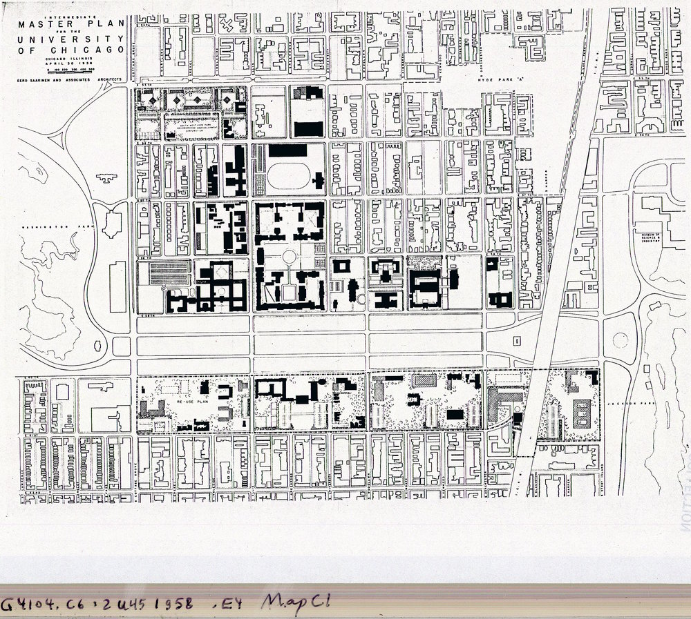 Eero Saarinen's Map of Campus, 1958