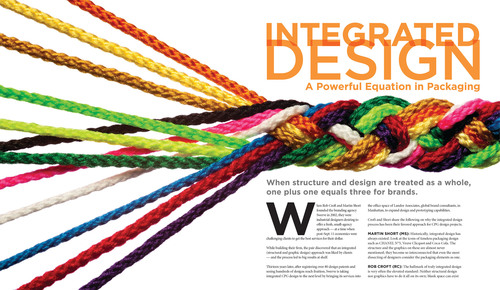 Integrated Design: A Powerful Equation in Packaging.  Brand Packaging magazine article by Swerve.  The article explores the advantages and pitfalls of holistic graphic and 3d packaging design and development, and includes a checklist of keys to successful integrated programs and critical components in bringing groundbreaking holistic designs to market.