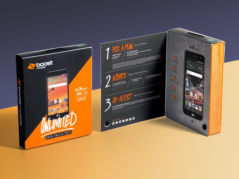 Sprint, Boost, Virgin Mobile package launch - Dec 2017   Swerve designed a new structural package for this family of phone brands. A fully paperboard package with a suite of modular internal trays to accommodate a wide range of smart-phones and accessories from different manufacturers with an outer sleeve carrying the brand and plan info.