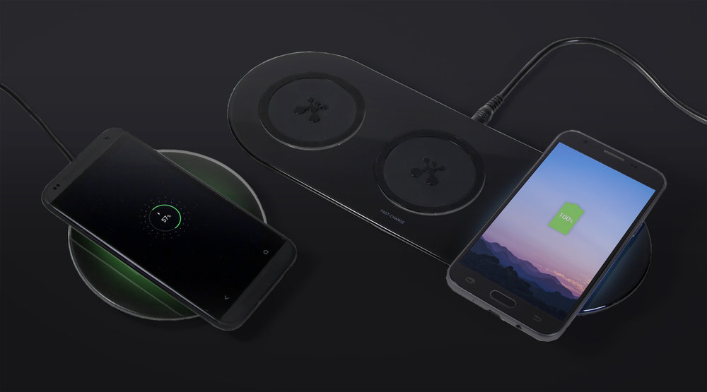 Multi device wireless charging designed by Swerve - June 2018   Swerve have expanded the line of Visual Charge wireless charging pads by designing a second triple device pad. This product features a slick reflective surface with a perfectly tactile central pad area to keep the devices in place, along with a multi color charge indicator light which glows behind the charge area to subtly show the status go the devices battery.