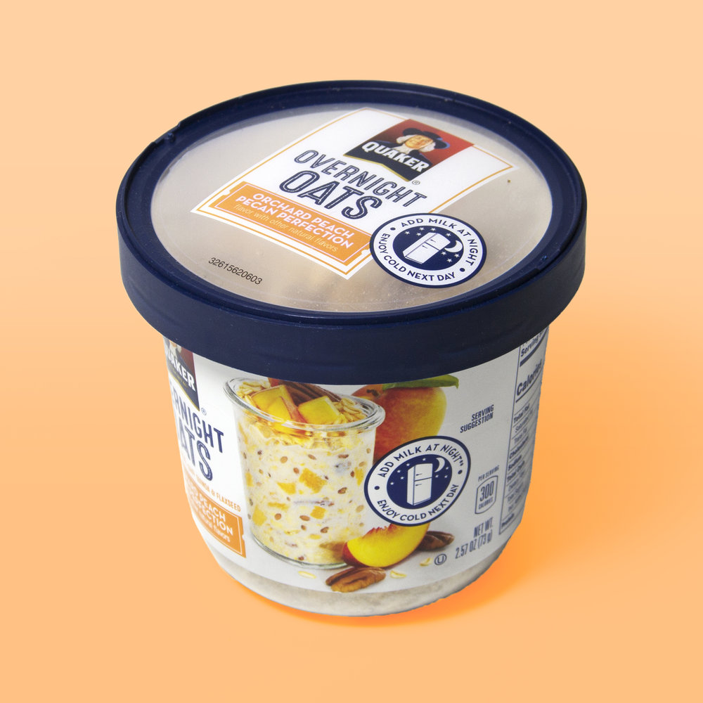 Quaker Overnight Oats   We are delighted to have worked with the Quaker team, helping to design and develop the physical packaging for the Overnight Oats line of products. Throughout the process care was taken to create a form that both presents the product at shelf and also provides a practical container for preparing and eating the oats.