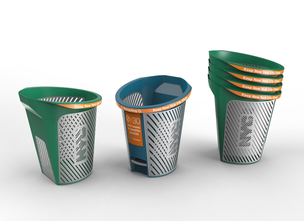 NYC better bin designs - October 2018   As part of the city's drive to improve the appearance of the streets and meet goals for recycling, New York City has launched an initiative to replace all trash cans and bins across the 5 boroughs.  Swerve were honored to design three options, all use recycled materials and greatly improve the ease of use and emptying. Another feature of our designs are that the appearance and longevity of the bins are improved by the use of replaceable parts in key areas of wear, as an efficient serviceable unit.