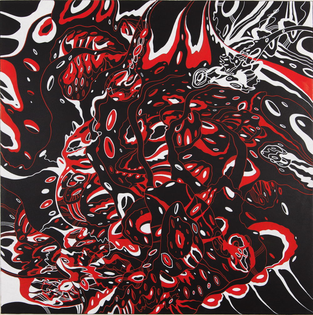 "Destroyer's Song, 2014. Acrylic on canvas. 36"" x 36"""
