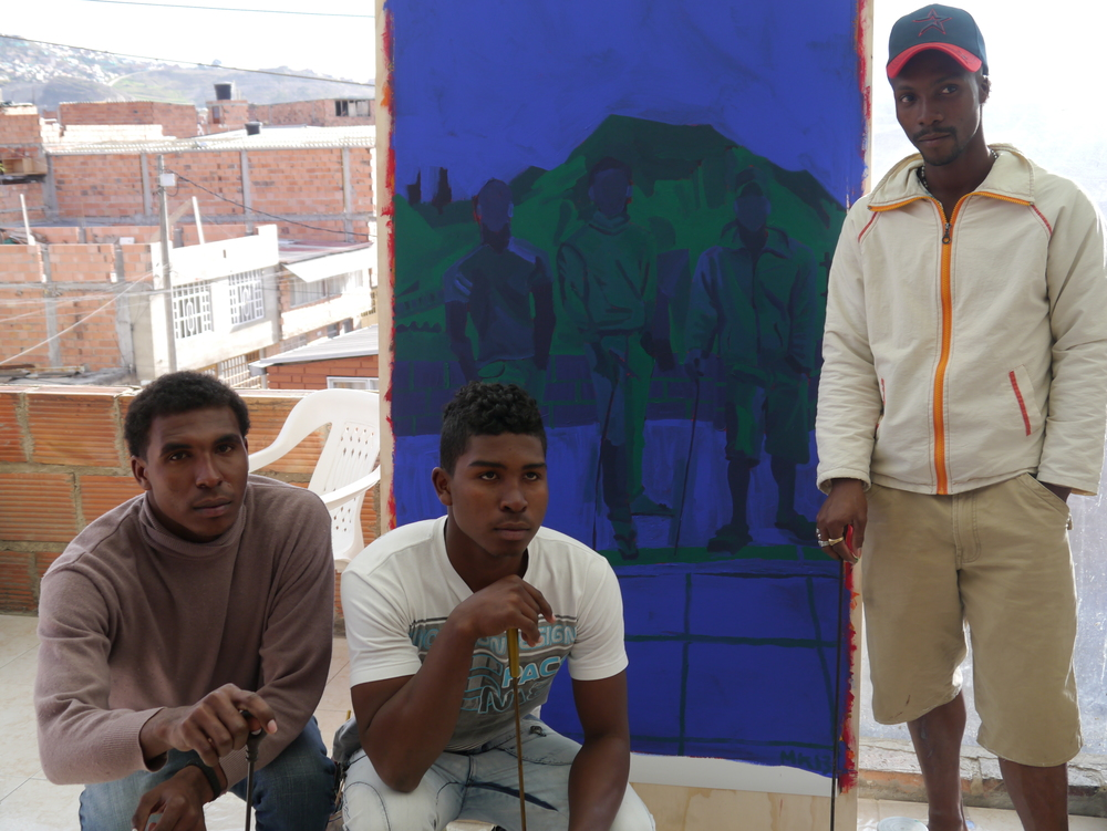 Jose Luis, Gabriel, and Jose Fernando with their painting at the foundation, Soacha, Colombia August 2013 Photo: Laura Moretti