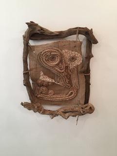 Bryce Zackery,Skoll,2016 38x33x7, Driftwood, rope, and burlap