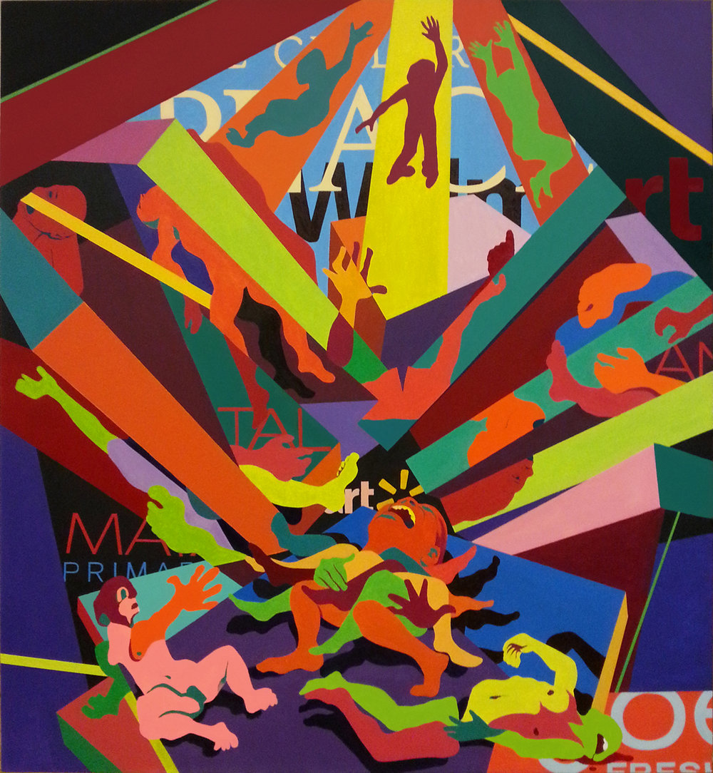 Rana Plaza in Savar: Death of a Thousand Workers , 2014, oil on canvas, 60 x 55 inches