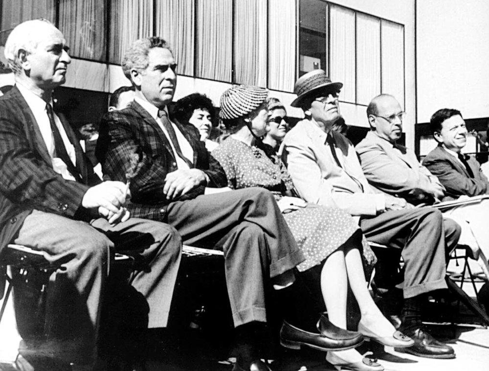 Symposium held at the Museum of Modern Art, 1962. Left to right: Elias Newman, Chaim Gross, Mrs. Edward Hopper, Edward Hopper, Joseph Hirsch and Abram Lerner. (New York Artists Equity Association archives)