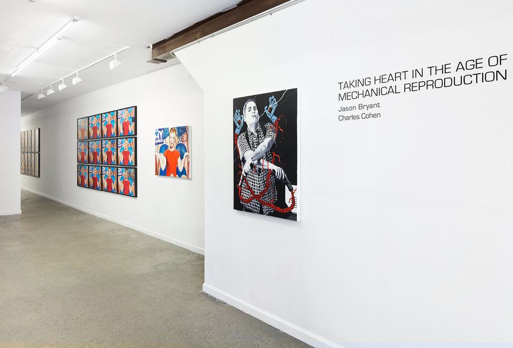 Installation view from  Taking Heart in the Age of Mechanical Reproduction    with works by Charles Cohen (left) and Jason Bryant (right.) Photography Courtesy of Haik Studio.